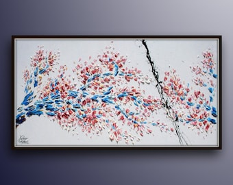 """Sakura Cherry Blossom Tree 67"""" - Beautiful Colourful Abstract Japanese Cherry Tree, represents a time of renewal and optimism, by K. Feldmos"""