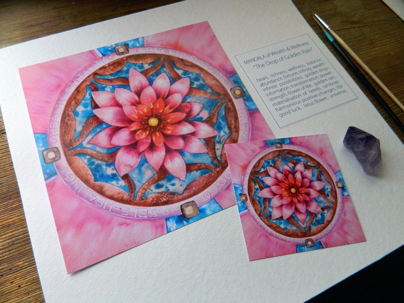 Mandala Health Pink Lotus Flower Healing Regeneration Vitality Joy Harmony Timeless Symbol Heart Good Luck Balance Universe Energy Rebirth