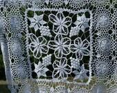 96cm x 92cm (37.75 quot x36.25 39 39 )Irish lace crochet tablecloth, macrame tablecloth, white crochet macrame tablecloth, Transylvania Romanian lace
