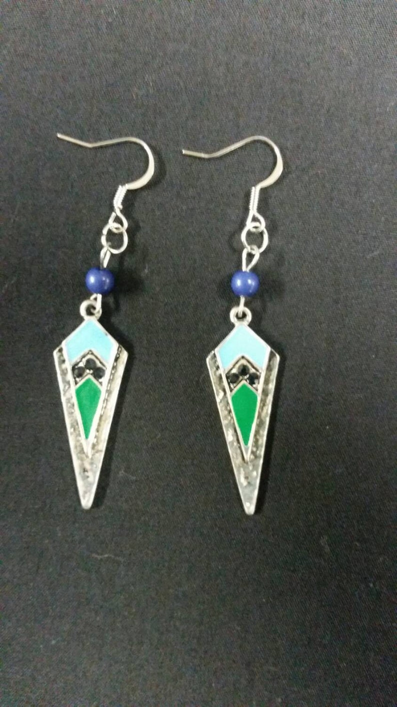 Silver Arrowhead earrings with green light blue and black