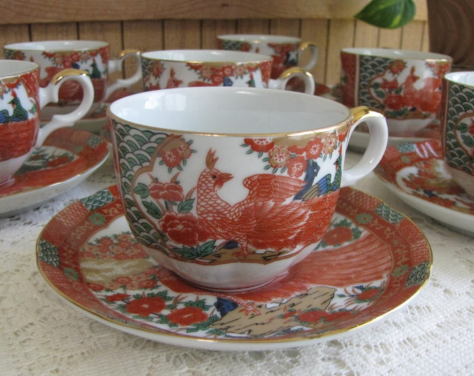 Imari Peacock by Arita Cups and Saucers Asian Tea Cup and Saucers Seven (7) Sets Chinoiserie