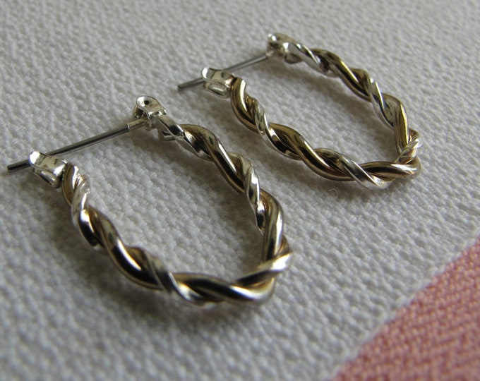 Intertwined Silver and Gold Toned Hoop Earrings Vintage Jewelry and Accessories