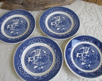 Blue Willow Small Plates Royal China Set of Four (4) Plates Vintage Dinnerware and Replacements