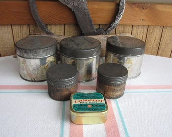 Old Tins Industrial Salvage Vintage Containers and Storage Lot of Six (6)