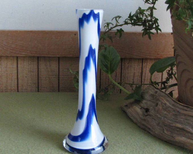 Blue and White Swirled Blown Glass Bud Vase Vintage Florist Ware