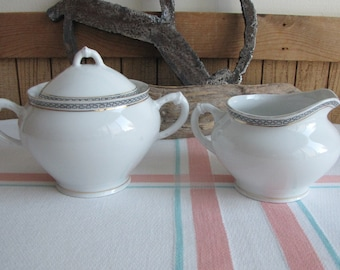 Royal Austrian porcelain cream and sugar bowl Greek Key 1899 to 1918 Antique Dinnerware and Replacements