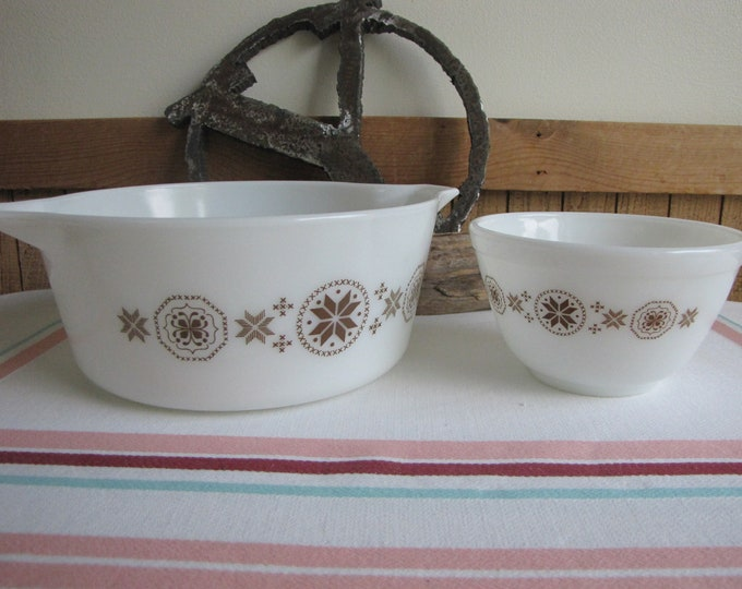 Pyrex Town and Country Casserole and Small Mixing Bowl Vintage Cookand Ovenware 1963-1967