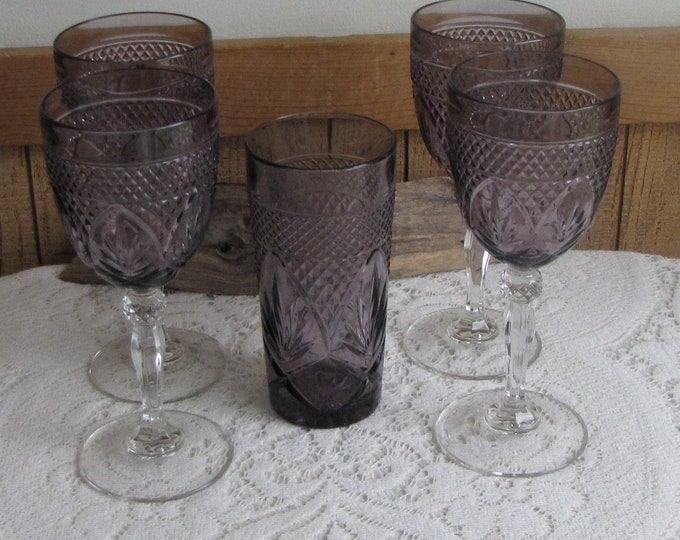 Antique Amethyst by Cristal D'Arques-Durand Water Goblets (4) and a Cooler (1) Vintage Drink and Barware Five (5) Glasses