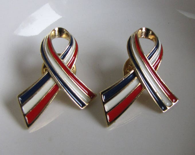 Patriotic Support Ribbons Pins Two (2) Vintage Jewelry and Accessories Fourth of July