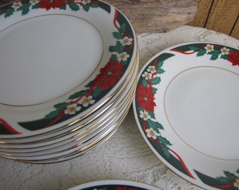 Deck the Halls Salad Plates Tien Shan Fine China 12 Plates Available Priced Individually Vintage Holiday Dinnerware and Replacements