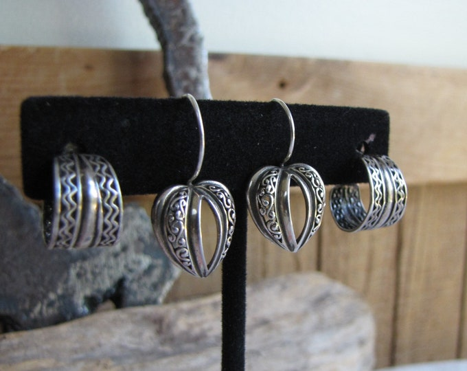 Sterling silver earrings 2 pairs pierced hearts and hoops Vintage Jewelry and Accessories
