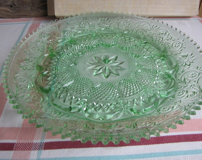 Tiara Sandwich Glass Deviled Egg Server Chantilly Green Glass Serving Tray 1982 to 1991 Vintage Dinnerware and Replacements
