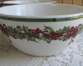 Christopher Radko Traditions Holiday Celebrations Cereal Bowls Set of Four (4) Vintage Christmas Dinnerware and Replacements