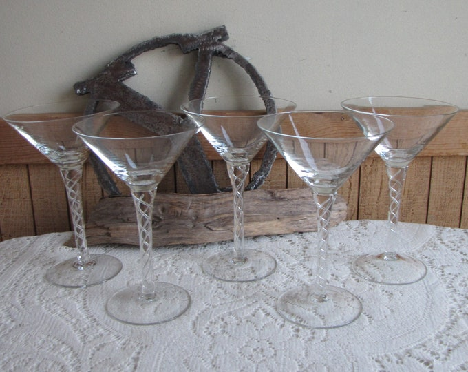 Swirled Stems Martini Glasses Set of Four (4) Vintage Barware
