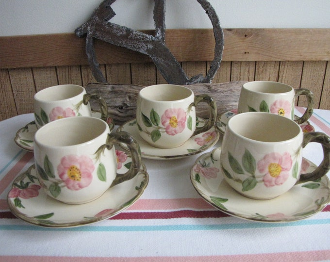 Franciscan Rose Desert Small Mugs and Saucers Vintage Dinnerware and Replacements Set of Five (5) Circa 1960 Gladding McBean