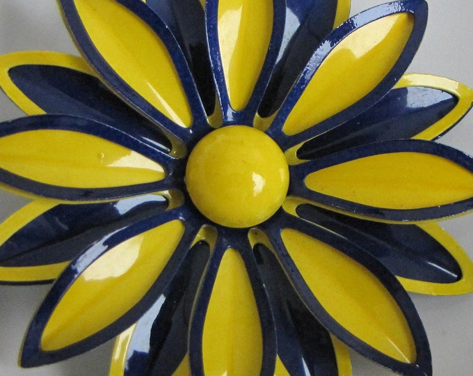 Yellow and Navy Flower Brooch Vintage Jewelry and Accessories