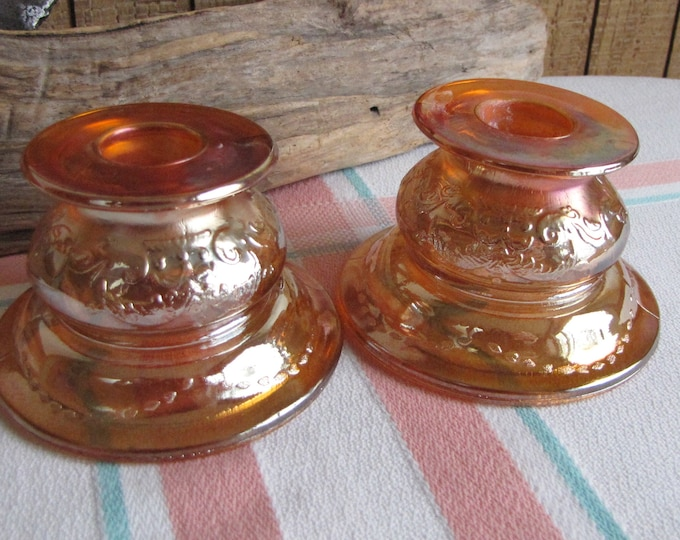 Marigold Depression Glass Candlestick holders Madrid Pattern Federal Glass Co. 1932-1939 Iridescent Vintage Dinnerware and Replacements
