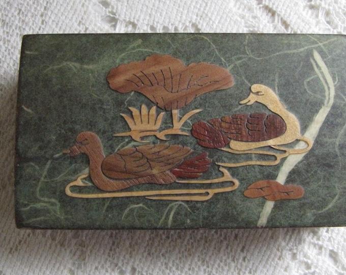 Vintage men's jewelry box scenic wood duck