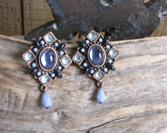 Avon Earrings Pierced Earrings Blue Stones Vintage Jewelry and Accessories Signed Avon SP