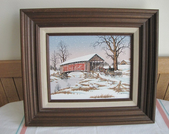 Coca Cola Covered Bridge Painting C. Carson Vintage Paintings and Home Decor Americana