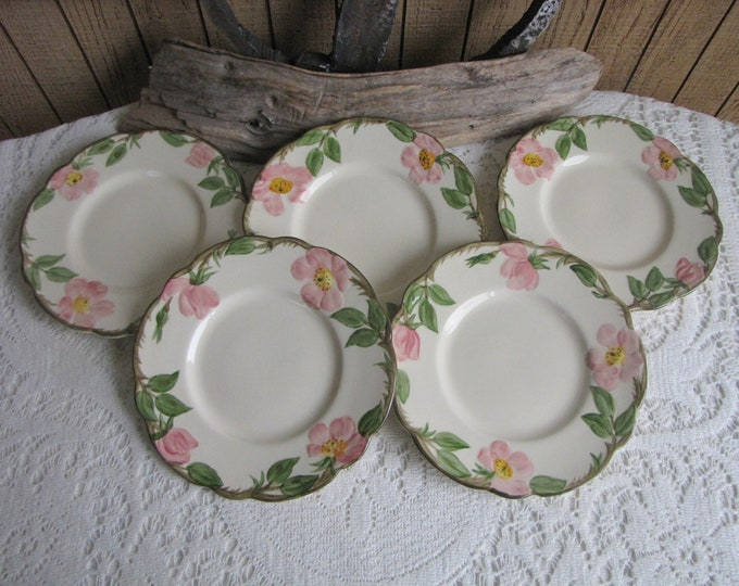 Franciscan Desert Rose Bread Plates Vintage Dinnerware and Replacements Five (5) Small Plates Circa Early 1950s