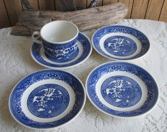 Blue Willow Saucers Four (4) Unmarked and One Coffee Cups Vintage Dinnerware and Replacements