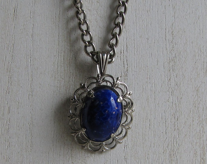 Elizabeth Morrey necklace and brooch blue stone and silver toned Vintage Jewelry and Accessories