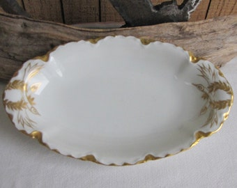 Haviland Ranson Celery Dish Vintage Dinnerware and Replacements Gold Circa 1920s