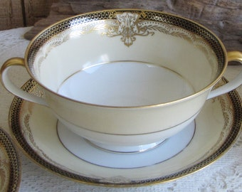 Noritake Valiere Soup Bowls and Saucers Vintage Dinnerware and Replacements Eight (8) Piece Set