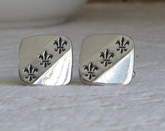 Fleur Di Lis Cuff Links Silver-Toned Squared Men's Vintage Jewelry and Accessories Formal Wear