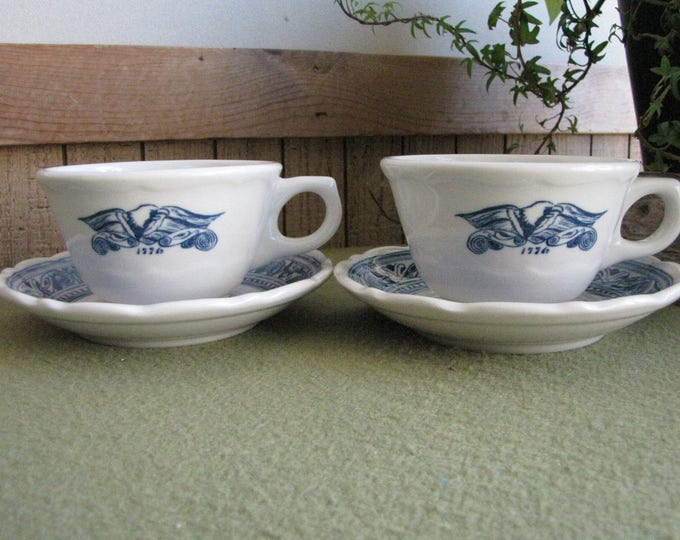 Vintage Syracuse China 1776 Cups and Saucers Americana Pattern Set of Two (2) Restaurant Ware