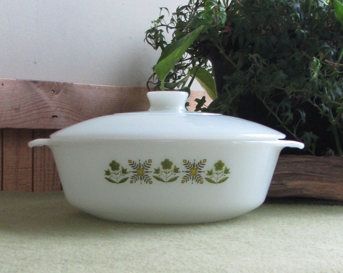Vintage Fire King Meadow Green Casserole Anchor Hocking White Glass Ovenware 1968-1976