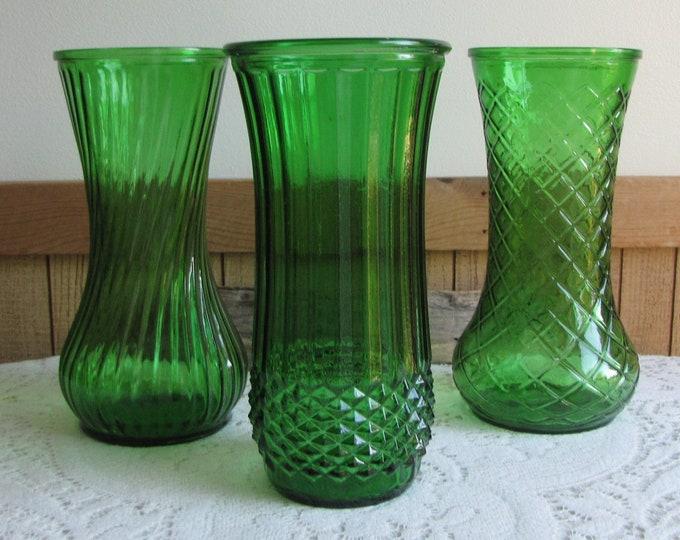 Emerald Green Hoosiers Vases Set of Three (3) Vintage Florist Ware and Flower Vases