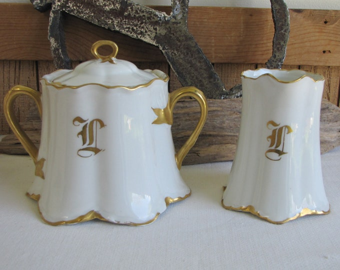 "Hutschenreuther Blenheim Cream and Sugar Bowl Vintage Dinnerware and Replacements 1930-1965 Monogrammed ""L"""