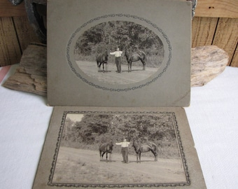 Man with Horses Set of Two (2) Vintage Black and White Photography Equestrian Photographs Farmhouse Rustic Decor