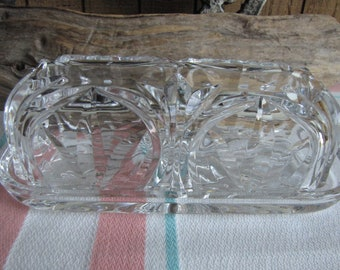 Crystal Butter Dish Block Co. 24% Lead Crystal Poland Vintage Dinnerware and Replacements