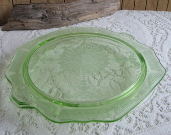 Anchor Hocking Green Depression Glass Circa 1930s  Princess Sandwich Plate Vintage Dinnerware and Replacements