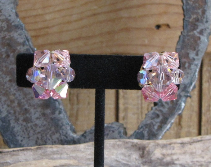 Lucite Pink Clip on Earrings Vintage Jewelry and Accessories