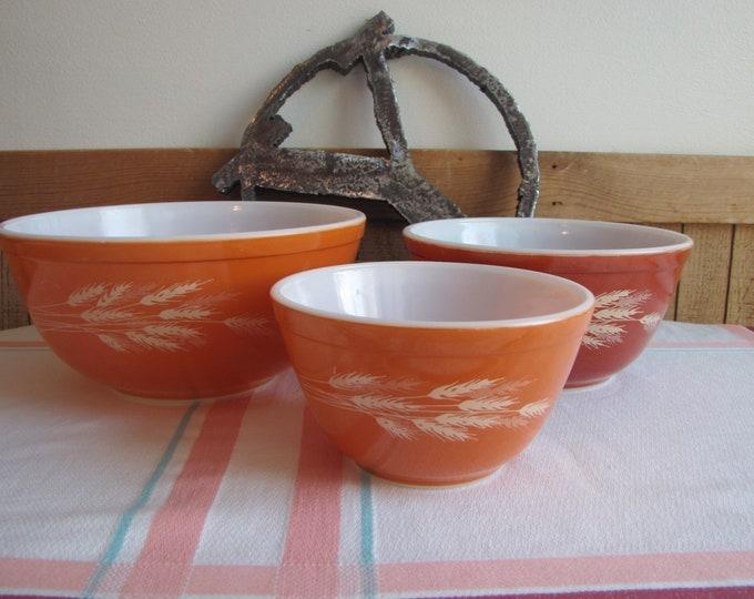 Pyrex Autumn Harvest Mixing Bowls Vintage Kitchens Set of Three (3)