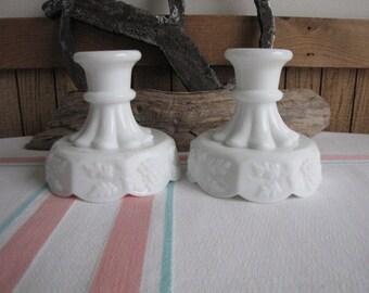 Vintage Westmoreland Milk Glass Candle Stick Holders Paneled Grapes
