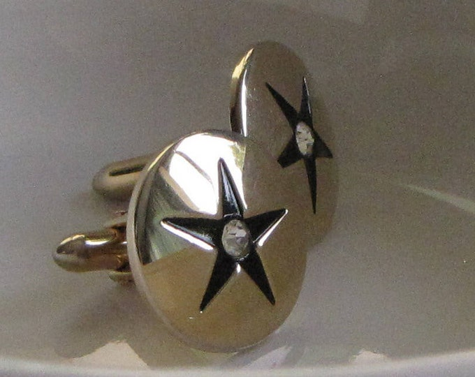 Swank cuff links gold toned stars and rhinestones Vintage Men's Jewelry and Accessories