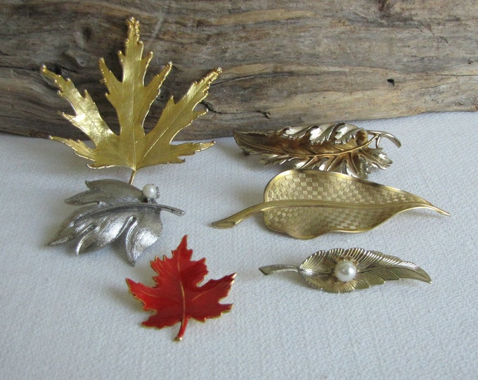 Leaf Brooches Lot of Six (6) Leaf-shaped Vintage Brooches Autumn Jewelry and Accessories