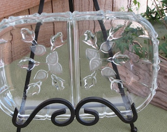 Vintage Crystal Relish Tray with frosted roses