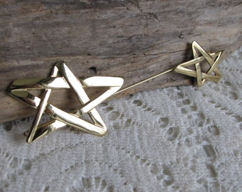 Dual Star Stick Pin Vintage Jewelry and Accessories Large Gold Toned