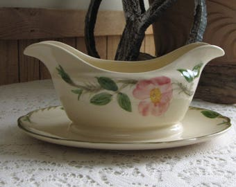 Franciscan Desert Rose Gravy Boat with Underplate Vintage Dinnerware and Replacements Made in California 1963-1970