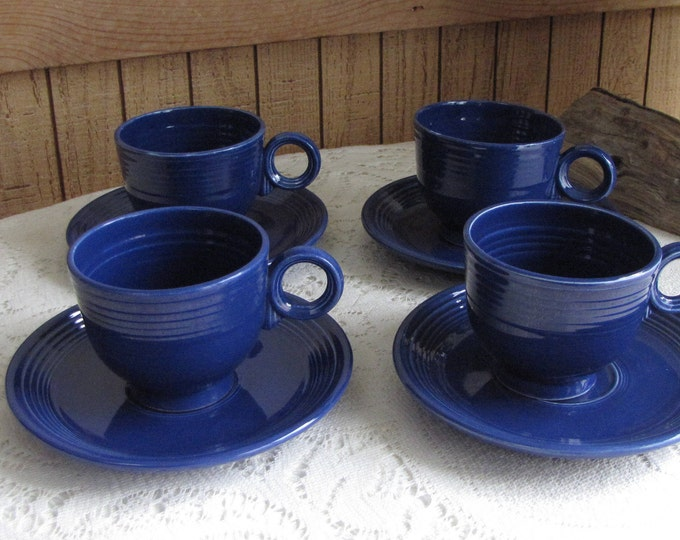 Older Fiesta Ware Homer Laughlin Cobalt Blue Coffee Cups and Saucers Set of Four (4) 1936-1951 Imperfections
