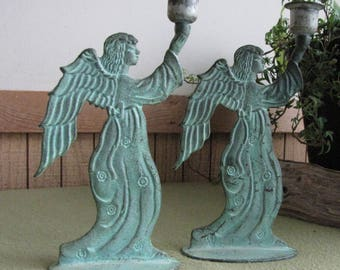 Vintage Green Metal Angel Candle Holders Two (2)