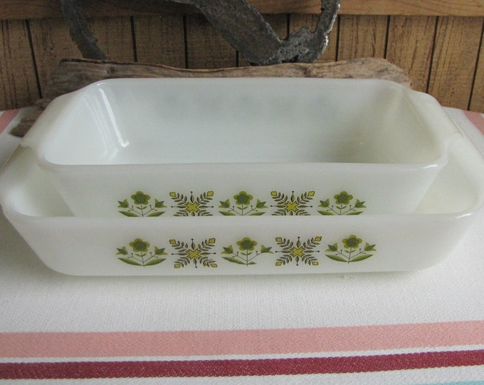 Fire King Meadow Green Bread Pan and Low Casserole Set of Two Anchor Hocking 1968-1976 Vintage White Oven and Cookware