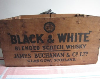 Old Wooden Liquor Box Black & White Blended Scotch Whiskey Crate James Buchanan Co. Ltd. Glasgow, Scotland