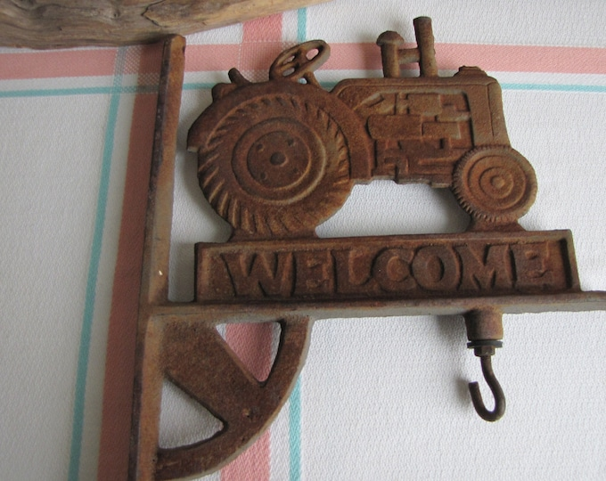 Cast Iron Tractor Welcome Sign Vintage Rustic and Farmhouse Home Decor
